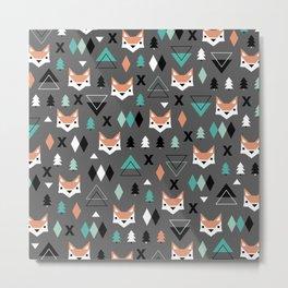 Geometric fox woodland forest pattern Metal Print