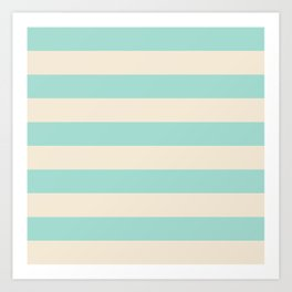 Mint Green and Cream Stripe Art Print