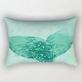 A Mermaid's Tail III, painterly coastal art, aqua metal Rectangular Pillow
