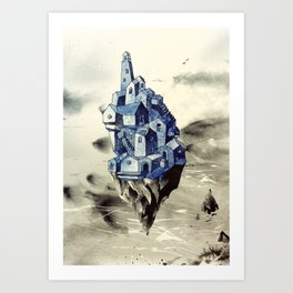 Blue town between the sky and the sea Art Print