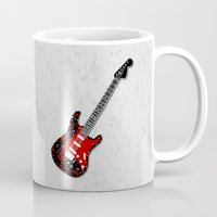 music notes Mugs featuring Music Notes Electric Guitar by GBC Design