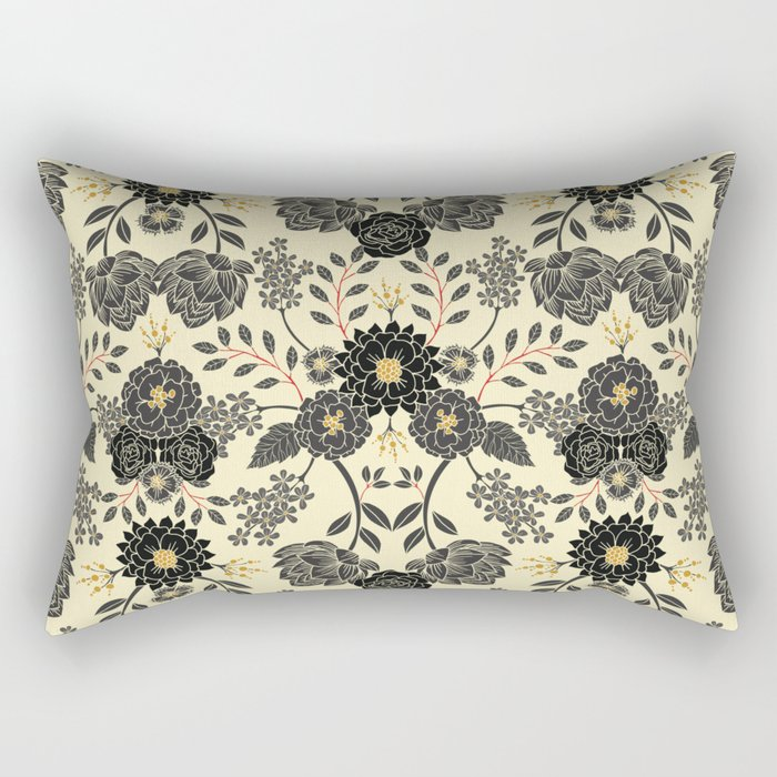 Gray, Black, Cream, Yellow & Red Sophisticated Floral Pattern Rectangular Pillow