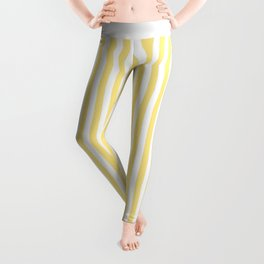 Modern geometrical baby yellow white stripes pattern Leggings