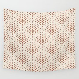Cavern Clay SW 7701 Polka Dot Scallop Fan Pattern on Creamy Off White SW7012 Wall Tapestry