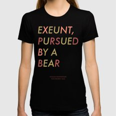 Shakespeare - The Winter's Tale - Exeunt Exit Pursued by a Bear SMALL Womens Fitted Tee Black