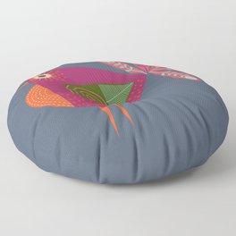Red fantailed Folk Bird Floor Pillow
