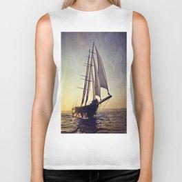luxury big sailboat Biker Tank