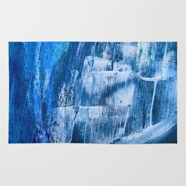 Cerulean [5]: a vibrant blue abstract with texture and layers Rug