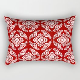 Japanese Medallion Pattern, Deep Red and White Rectangular Pillow