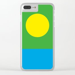 Yellow Sun in a Green Sky looking at a blue sea Clear iPhone Case