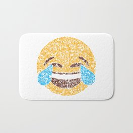 Emoji Calligraphy Art :Face with tears of joy Bath Mat