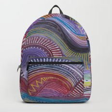 zentangle flow with blue Backpack