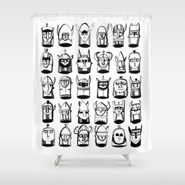 Black and White Helmets Shower Curtain