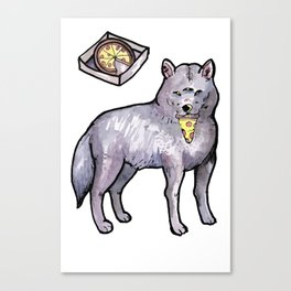 wolf eating a pizza Canvas Print