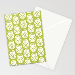 Mid Century Modern Flower Pattern Chartreuse 333 Stationery Cards