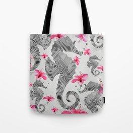 Seahorse Floral Landscape Print Tote Bag