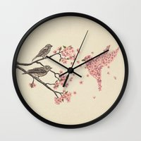 pink floyd Wall Clocks featuring Blossom Bird  by Terry Fan
