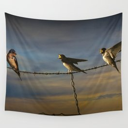 Barn Swallows on Barbwire Fence at Sunset Wall Tapestry