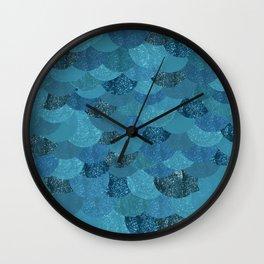 Blue Mermaid Scales Wall Clock