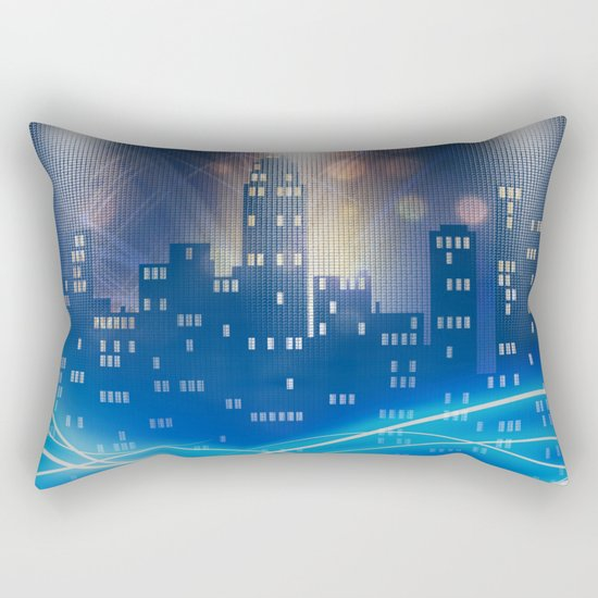 Neon city skyline by night metallic look print Rectangular Pillow