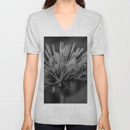 Black and white dandelion covered by raindrops Unisex V-Neck