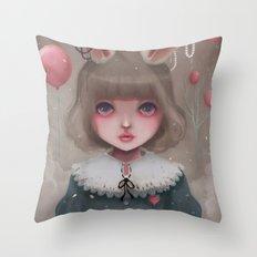 Juliette, balloons & pearls... Throw Pillow