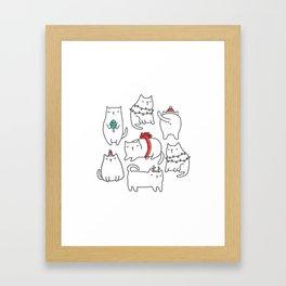 Fat Christmas cats Framed Art Print