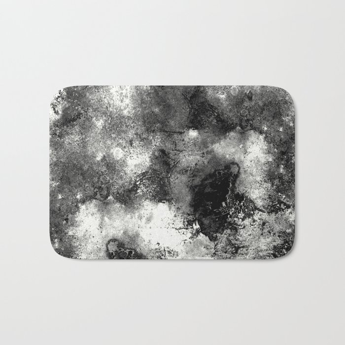Deja Vu - Black and white, textured painting Bath Mat