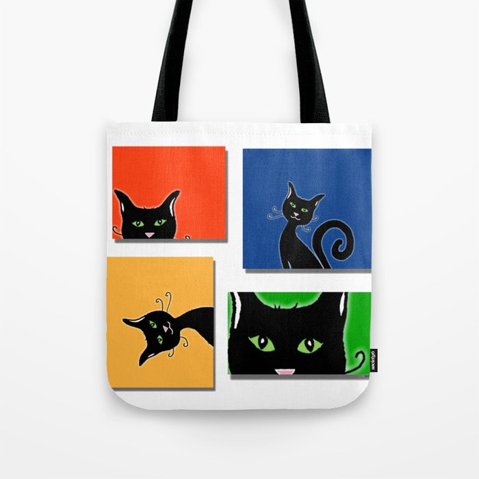 Cats in Squares Tote Bag