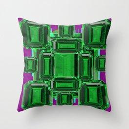 Emerald Gems May Babies Birthstones on Purple Throw Pillow