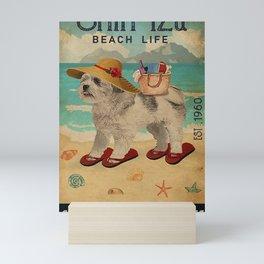 Beach Life Sandy Toes Shih Tzu dog gift Mini Art Print