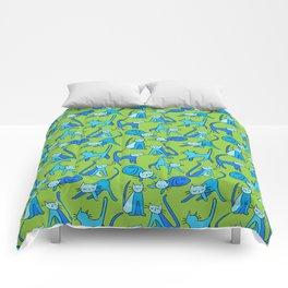 kitty kat (blue on green) Comforters