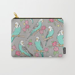 Budgie Birds With Blossom Flowers on Grey Carry-All Pouch