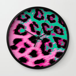 Hot Pink and Aqua Leopard Spots Wall Clock