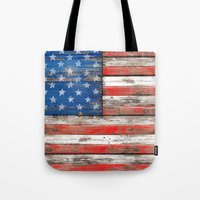 Tote Bags featuring USA Vintage Wood by Diego Tirigall
