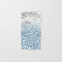 She Sparkles - Turquoise Teal Glitter Marble Hand & Bath Towel