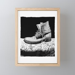 A Worn Out Boot Shows on Display Framed Mini Art Print