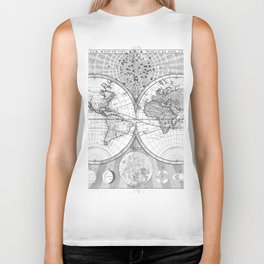 Black and White World Map (1687) Biker Tank