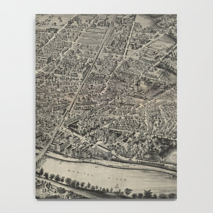 Vintage Pictorial Map of New Brunswick NJ (1910) Notebook