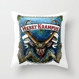 Merry Krampus Throw Pillow