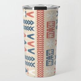 Southwestern Native Tribal Retro Pattern Coral Blue Beige Travel Mug