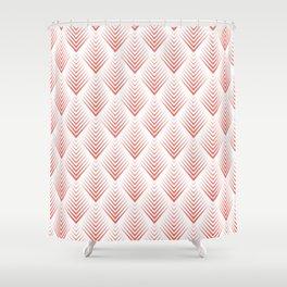 Modern White Coral Leafs Pattern Shower Curtain