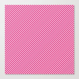 Mini Hot Neon Pink and White Candy Cane Stripes Canvas Print