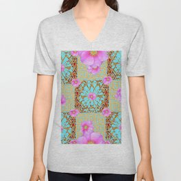 Delicate French Style Aqua Pink Wild Rose Gold Jewelry Abstract Unisex V-Neck