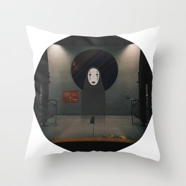 Waiting for the Train with Kaonashi Throw Pillow