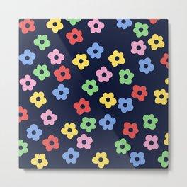 Ditsy Bib Flower Pattern Metal Print