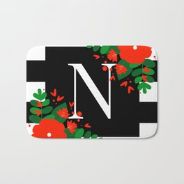N - Monogram Black and White with Red Flowers Bath Mat