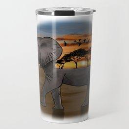 African Elephant, African Sunset, White Background Travel Mug