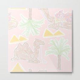 Camel Cabana in Desert Pink Sands Metal Print