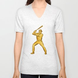 Baseball Batter Batting Bat Etching Unisex V-Neck